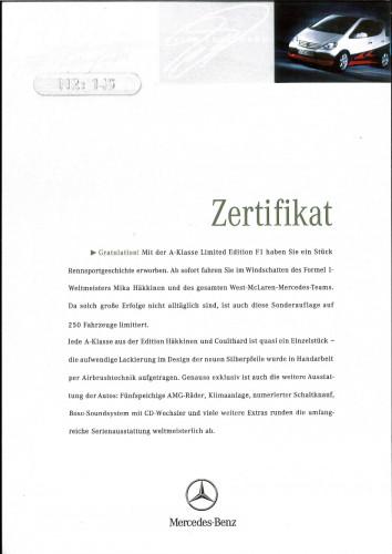 1999 Mercedes-Benz A160 Mika Hakkinen Edition 145/250 36